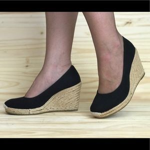 Espadrille Wedges black canvas uppers rope sole